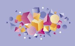 Composizione geometrica in colore 3d di concetto Immagine Stock