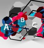composizione geometrica in esagono 3d, fondo astratto digitale geometrico Immagine Stock