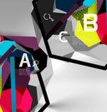 composizione geometrica in esagono 3d, fondo astratto digitale geometrico Fotografie Stock