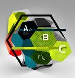 composizione geometrica in esagono 3d, fondo astratto digitale geometrico Fotografie Stock Libere da Diritti