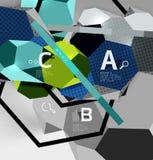 composizione geometrica in esagono 3d, fondo astratto digitale geometrico Immagine Stock Libera da Diritti