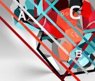 composizione geometrica in esagono 3d, fondo astratto digitale geometrico Fotografia Stock Libera da Diritti