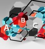 composizione geometrica in esagono 3d, fondo astratto digitale geometrico Immagini Stock Libere da Diritti