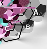 composizione geometrica in esagono 3d, fondo astratto digitale geometrico Fotografia Stock