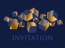 Composizione geometrica nei cubi di illusione di concetto 3d Immagine Stock