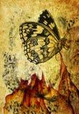 Composizione Grungy con la farfalla Fotografie Stock Libere da Diritti