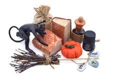 Composizione in Halloween con i libri e le rune Fotografia Stock Libera da Diritti