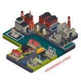 Composizione isometrica abbandonata nelle città royalty illustrazione gratis