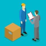 Composizione isometrica in consegna del cliente illustrazione vettoriale