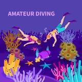 Composizione isometrica d'immersione dilettante illustrazione di stock