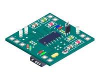 Composizione isometrica nel bordo elettronico Concetto del dispositivo dell'attrezzatura di tecnologia Illustrazione di vettore Immagini Stock
