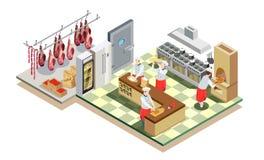 Composizione isometrica nella cucina del ristorante Immagini Stock Libere da Diritti
