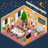 Composizione isometrica nella festa di Natale illustrazione vettoriale