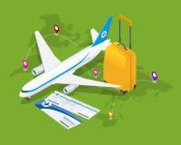 Composizione isometrica in viaggio Fondo di turismo e di viaggio Illustrazione piana di vettore 3d Progettazione dell'insegna di  Fotografia Stock Libera da Diritti