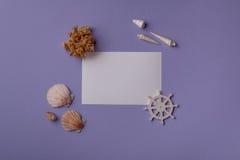 Composizione marina con la carta di carta Fotografia Stock