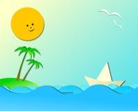 Composizione marina in tema di vacanza con stanza dedicata per la vostra t Immagini Stock Libere da Diritti