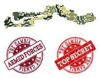 Composizione militare del cammuffamento della mappa della Gambia e delle guarnizioni segrete graffiate illustrazione vettoriale