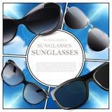 Composizione moderna realistica negli occhiali da sole immagini stock