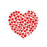 Composizione: molti piccoli cuori rossi presentati sotto forma di grande cuore illustrazione vettoriale
