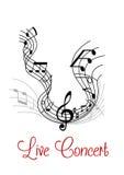 Composizione musicale con l'onda e le note Immagini Stock Libere da Diritti