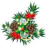 Composizione in Natale con gli archi e la bacca dell'agrifoglio Fotografia Stock