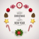 Composizione in Natale con gli elementi festivi Palle di Natale, coni, orologi, stelle, rami del pino e bacche illustrazione di stock