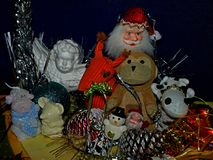Composizione in Natale con i giocattoli e le decorazioni Fotografia Stock