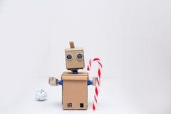 Composizione in Natale con il nuovo anno delle decorazioni e del roobot Fotografie Stock