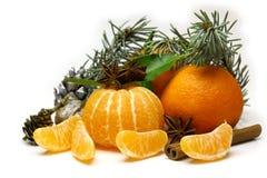 Composizione in Natale con l'agrume dei mandarini fotografia stock