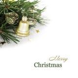 Composizione in Natale con la campana dorata Fotografia Stock