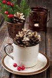 Composizione in Natale con la decorazione di festa Immagini Stock Libere da Diritti