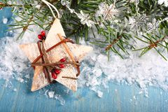 Composizione in Natale con la stella di legno bianca Fotografia Stock
