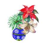 Composizione in natale dell'acquerello illustrazione per il disegno illustrazione di stock
