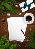 Composizione in Natale di vettore sulla tavola di legno Fotografia Stock