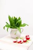Composizione in natura morta con l'aglio dell'orso (allium Ursinum) ed i ravanelli affettati Immagini Stock
