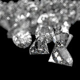 Composizione nei diamanti 3d sul nero Fotografia Stock