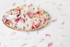 Composizione nei piatti del fiore fotografie stock