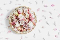Composizione nei piatti del fiore, disposizione piana fotografia stock