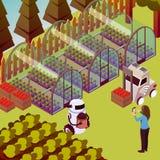 Composizione nei robot dell'operatore dell'azienda agricola royalty illustrazione gratis