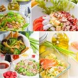 Composizione nel collage dell'insalata annidata sulla struttura Immagini Stock Libere da Diritti