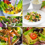 Composizione nel collage dell'insalata annidata sulla struttura Fotografia Stock