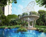 Composizione nel giardino verde Illustrazione Vettoriale