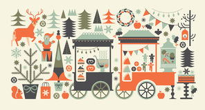 Composizione nel paesaggio con il mercato di Natale Fotografia Stock