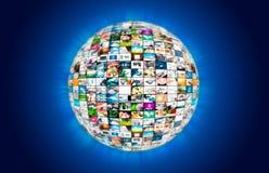 Composizione nell'estratto del globo della sfera di multimedia di radiodiffusione della televisione Fotografia Stock Libera da Diritti