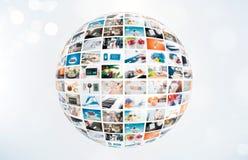 Composizione nell'estratto della sfera di multimedia di radiodiffusione della televisione Fotografia Stock Libera da Diritti