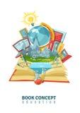 Composizione nell'estratto di concetto di istruzione del libro aperto Fotografia Stock