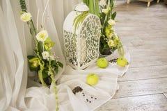 Composizione nella decorazione della decorazione di nozze Verde Fotografia Stock