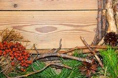 Composizione nella decorazione sui bordi di legno del fondo fatti di branc Immagine Stock