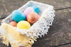 Composizione nella foto delle uova di Pasqua Fotografie Stock Libere da Diritti
