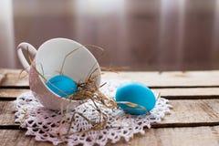 Composizione nella foto delle uova di Pasqua Immagini Stock Libere da Diritti